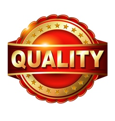 Quality guarantee golden label with ribbon vector