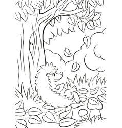 Little cute kind hedgehog sits near the tree and vector