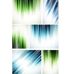 Set of abstract line backgrounds vector