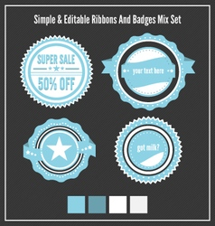 Mixed badges ribbons set vector