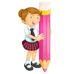 A girl holding pencil vector