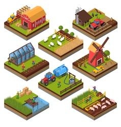 Agricultural compositions isometric set vector