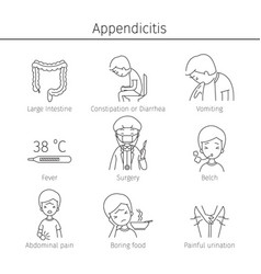 Appendicitis symptoms icons set vector