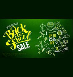 back to school sale icons on chalkboard vector image vector image