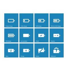 Battery icons on blue background vector image