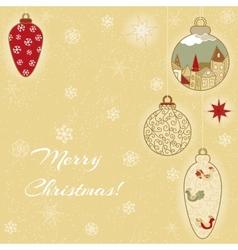 Christmas hand-drawn card with balls and stars vector image