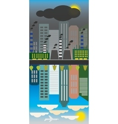 Clean and polluted city reflectionecology vector