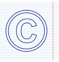 Copyright sign navy line vector