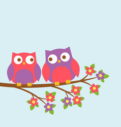 couple of cute owls on blooming branch vector image vector image