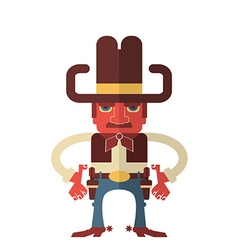 Cowboy with guns isolated on white vector