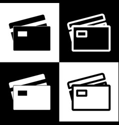 Credit card sign black and white icons vector