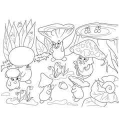 Family of mushrooms in the forest coloring book vector