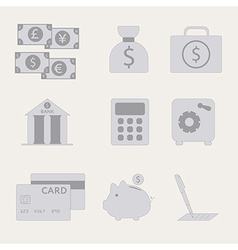 Financial analytical icons with graphs vector image
