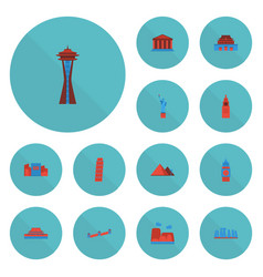 Flat icons great pyramid america seattle and vector