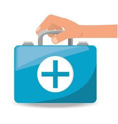 hand with suitcase first aid kit with medical vector image vector image
