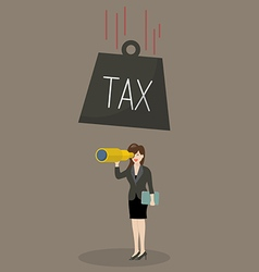 Heavy tax falling to careless business woman vector image vector image