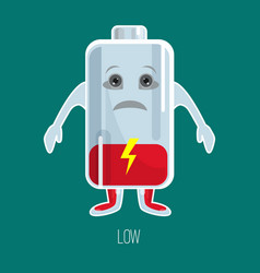 Low charged battery cartoon character with hands vector