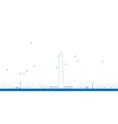 Outline washington monument in blue color vector