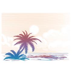 Palm tree beach colorful landscape vector