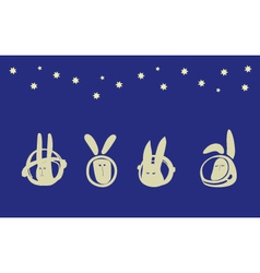 Rabbits in space vector image vector image