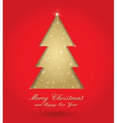 red and gold christmas tree vector image vector image