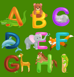 Set of animals alphabet for kids fish letters vector