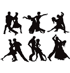 Silhouettes of the ballroom dancers vector