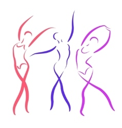 Sketched dancing girls set vector