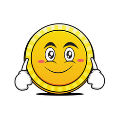 Smile face coin cartoon character vector