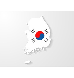 South Korea flag map with shadow effect vector image