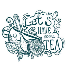 Tea time lettering vector
