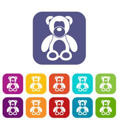 Teddy bear icons set vector