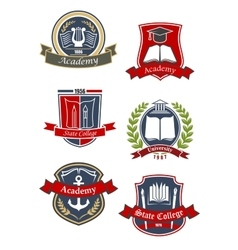 University college and academy emblems vector