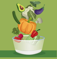 Vegetables fresh ingredients ripe vector