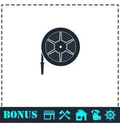 Water hose icon flat vector