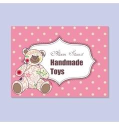 Vintage business card for handmade toys maker vector image