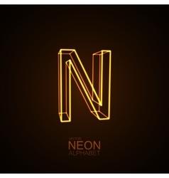 Neon 3d letter n vector