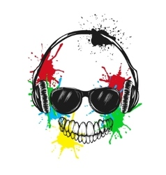 Abstract smiling character listening a music vector