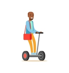 Black man in blue sweater riding electric self vector