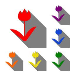 tulip sign set of red orange yellow green vector image