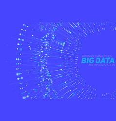 Big data circular blue visualization vector