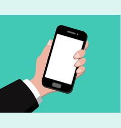 Hand holding smart phone on green background vector