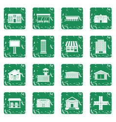 City infrastructure items icons set grunge vector