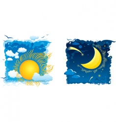 Sunny day and moonlit night vector