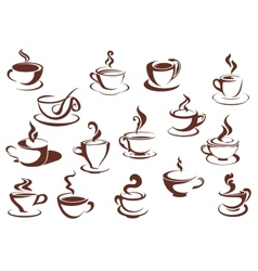 Doodle sketch set of steaming hot beverages vector image