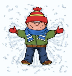 Boy angel in the snow vector