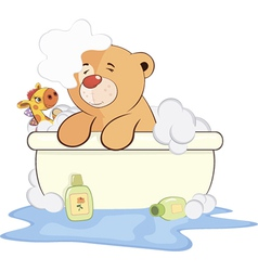 A stuffed toy bear cub in a bath cartoon vector