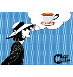 Girl coffee vector