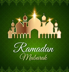 Ramadan mubarak greeting card with mosque vector