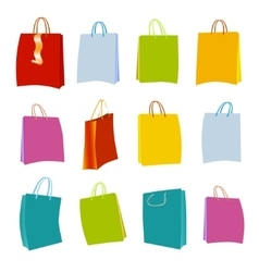 Set of colorful empty shopping bags vector